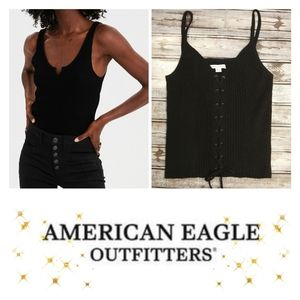 Rib Knit {Front Lace-Up} Top by American Eagle